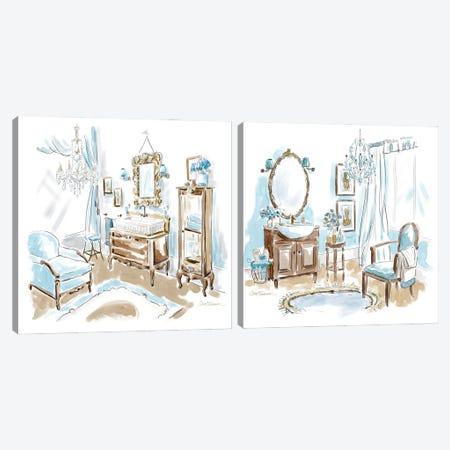 Blue Opulence Diptych Canvas Print Set #CRO2HSET020} by Carol Robinson Canvas Artwork
