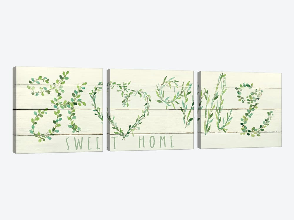 Shiplap Vines: Home by Carol Robinson 3-piece Art Print