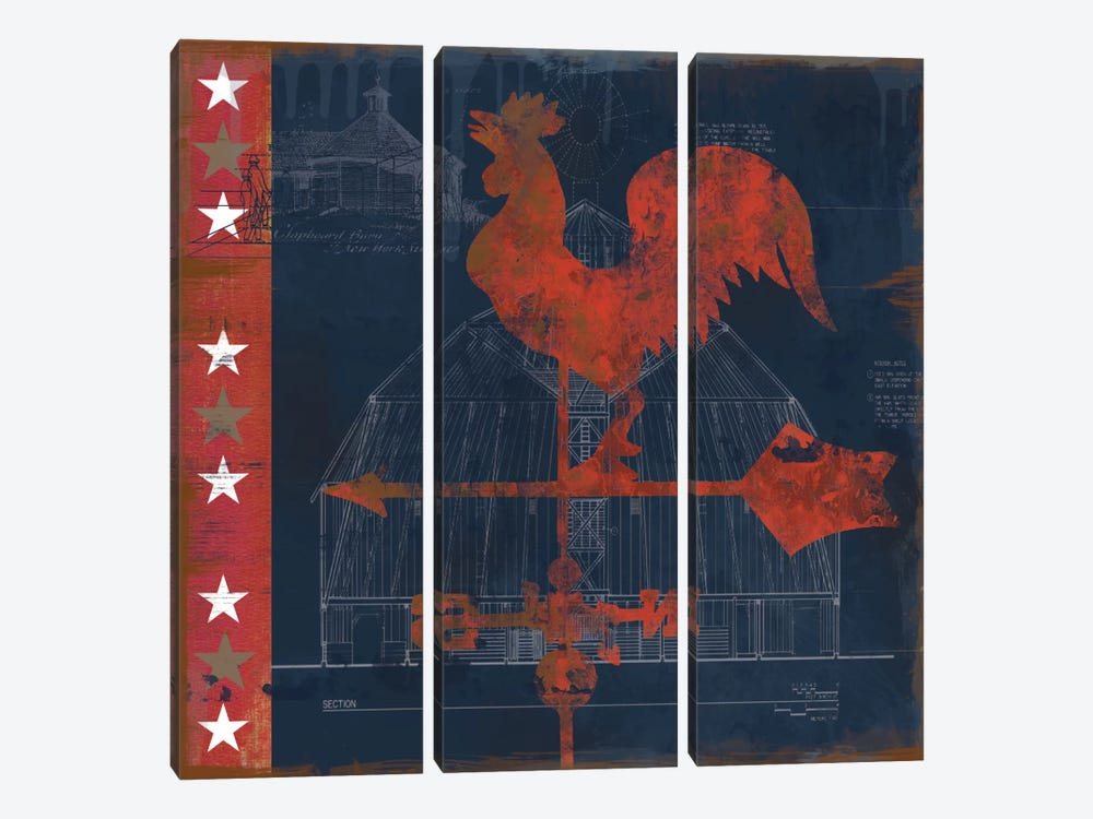 Rooster Vane by Carol Robinson 3-piece Canvas Print