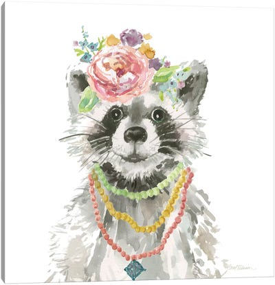 Glamour Girls: Raccoon Canvas Art Print