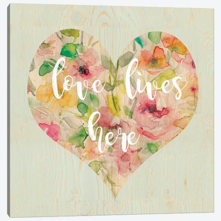 Love Lives Here Canvas Print #CRO357} by Carol Robinson Canvas Wall Art