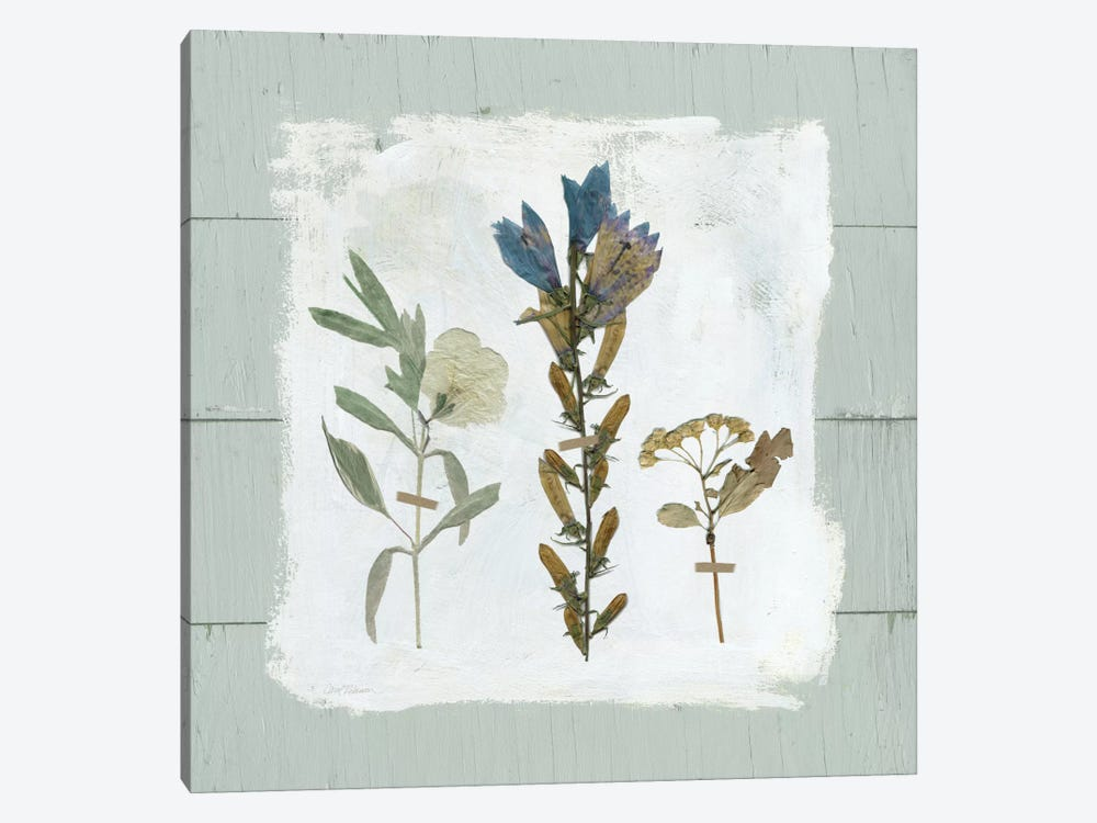 Pressed Flowers On Shiplap I 1-piece Canvas Art