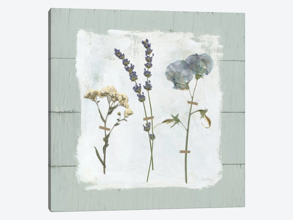 Pressed Flowers On Shiplap II 1-piece Canvas Print