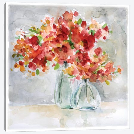 Red Arrangement 3-Piece Canvas #CRO377} by Carol Robinson Canvas Art