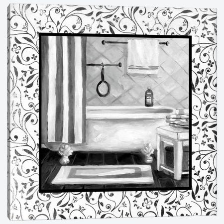 Black And White Bath I Canvas Print #CRO390} by Carol Robinson Canvas Print