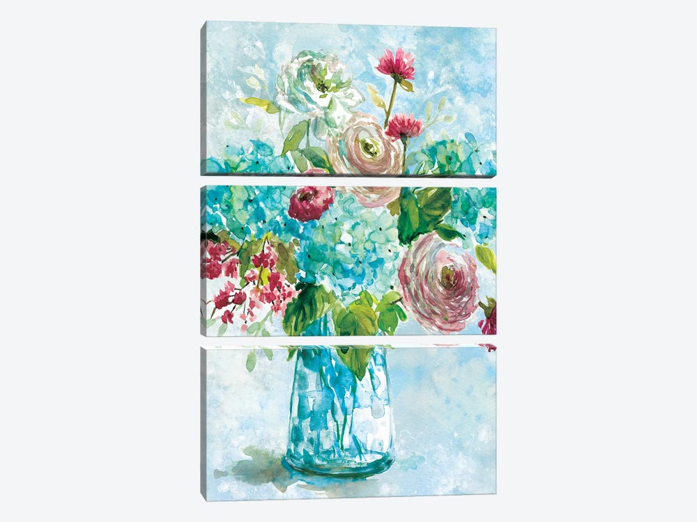 Blue Bouquet II by Carol Robinson 3-piece Canvas Art Print