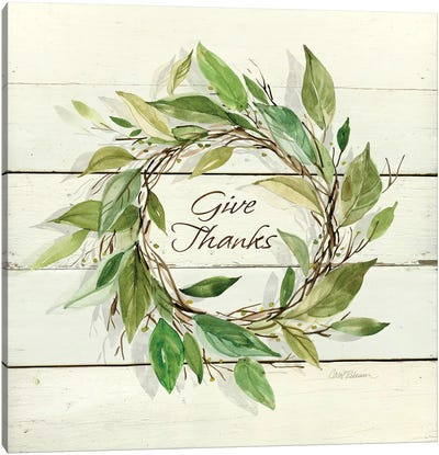 Bay Leaf Give Thanks Canvas Art Print