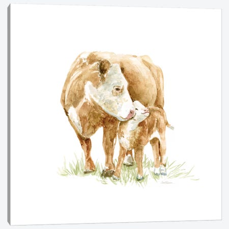 Cow And Calf Canvas Print #CRO425} by Carol Robinson Canvas Art