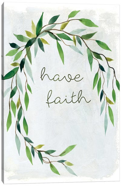 Faith Greenery Wreath Canvas Art Print