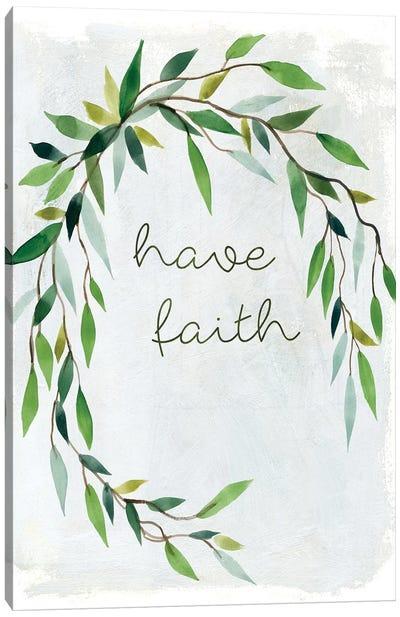 Faith Greenery Wreath Canvas Art Print