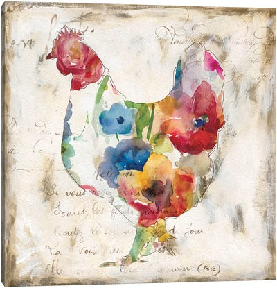Flowered Hen Canvas Art Print