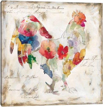 Flowered Rooster Canvas Art Print