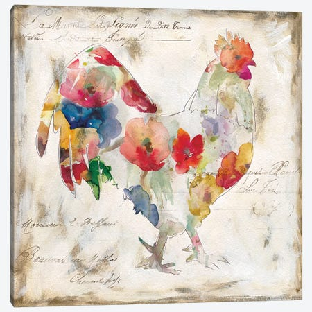 Flowered Rooster Canvas Print #CRO433} by Carol Robinson Canvas Artwork