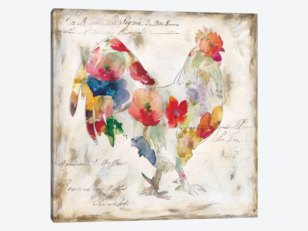 Flowered Rooster by Carol Robinson 1-piece Canvas Art