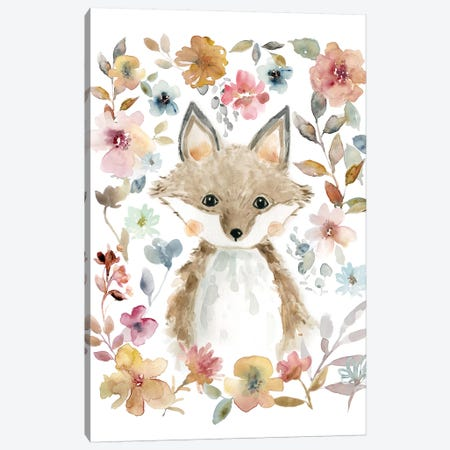 Flowers & Friends Fox Canvas Print #CRO463} by Carol Robinson Canvas Art Print