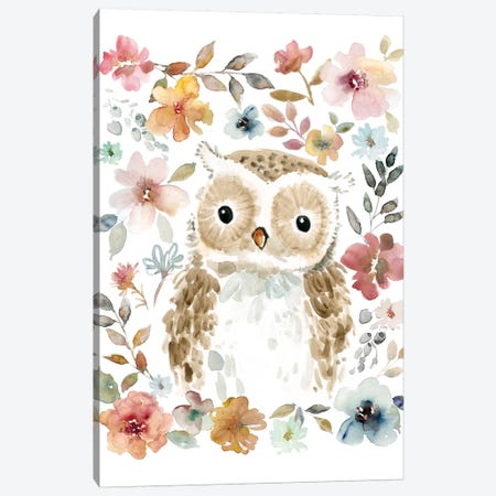 Flowers & Friends Owl Canvas Print #CRO464} by Carol Robinson Canvas Wall Art