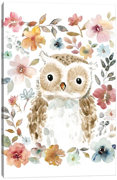 Flowers & Friends Owl Canvas Art Print