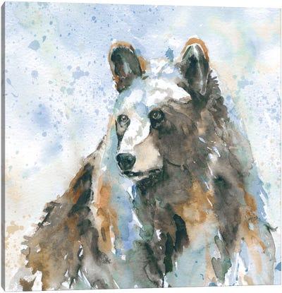 Black Bear On Blue Canvas Art Print