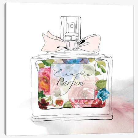 Chic Flower Perfume I Canvas Print #CRO502} by Carol Robinson Canvas Artwork