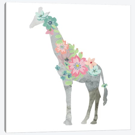 Girls Love Flowers Giraffe Canvas Print #CRO518} by Carol Robinson Canvas Print