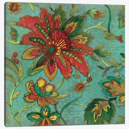 Teal Jacobean Spice I Canvas Print #CRO51} by Carol Robinson Canvas Art Print