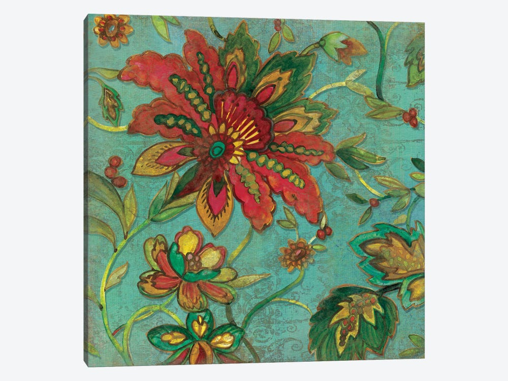 Teal Jacobean Spice I by Carol Robinson 1-piece Canvas Print