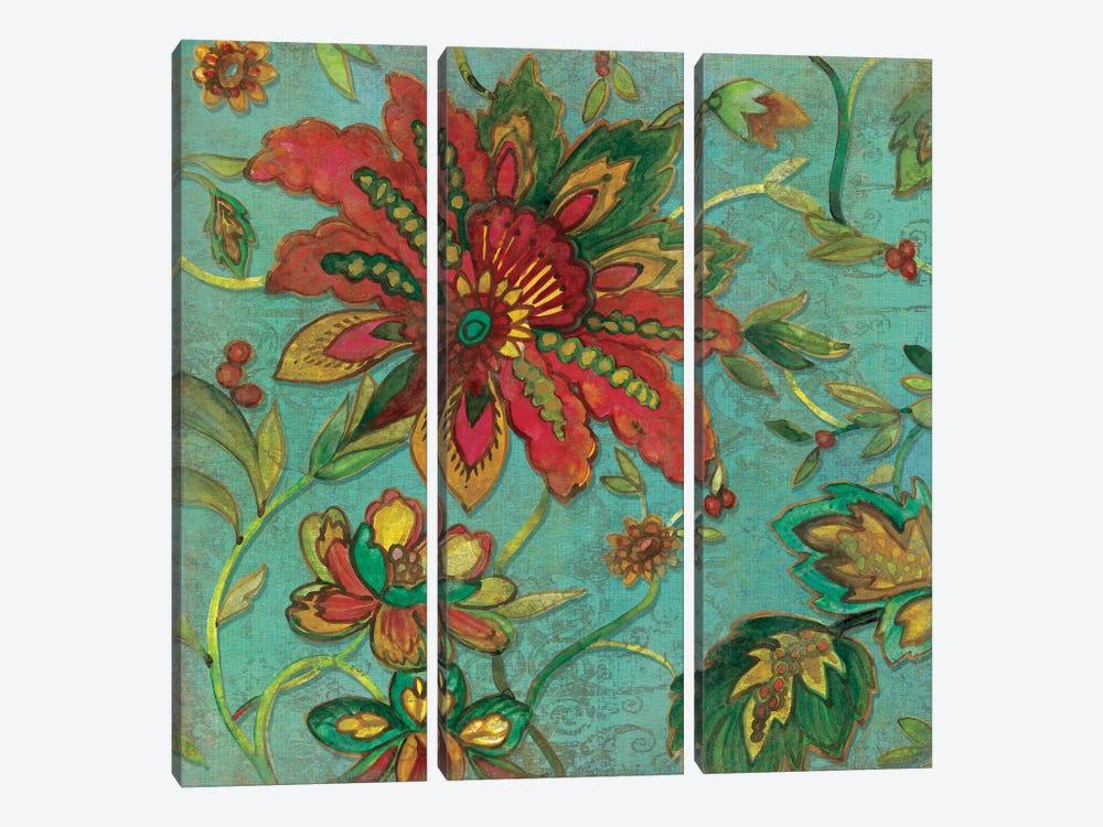 Teal Jacobean Spice I by Carol Robinson 3-piece Canvas Art Print