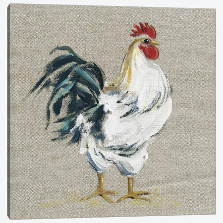 Linen Rooster I Canvas Print #CRO526} by Carol Robinson Canvas Art Print