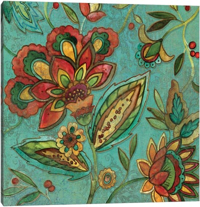 Teal Jacobean Spice II Canvas Print #CRO52