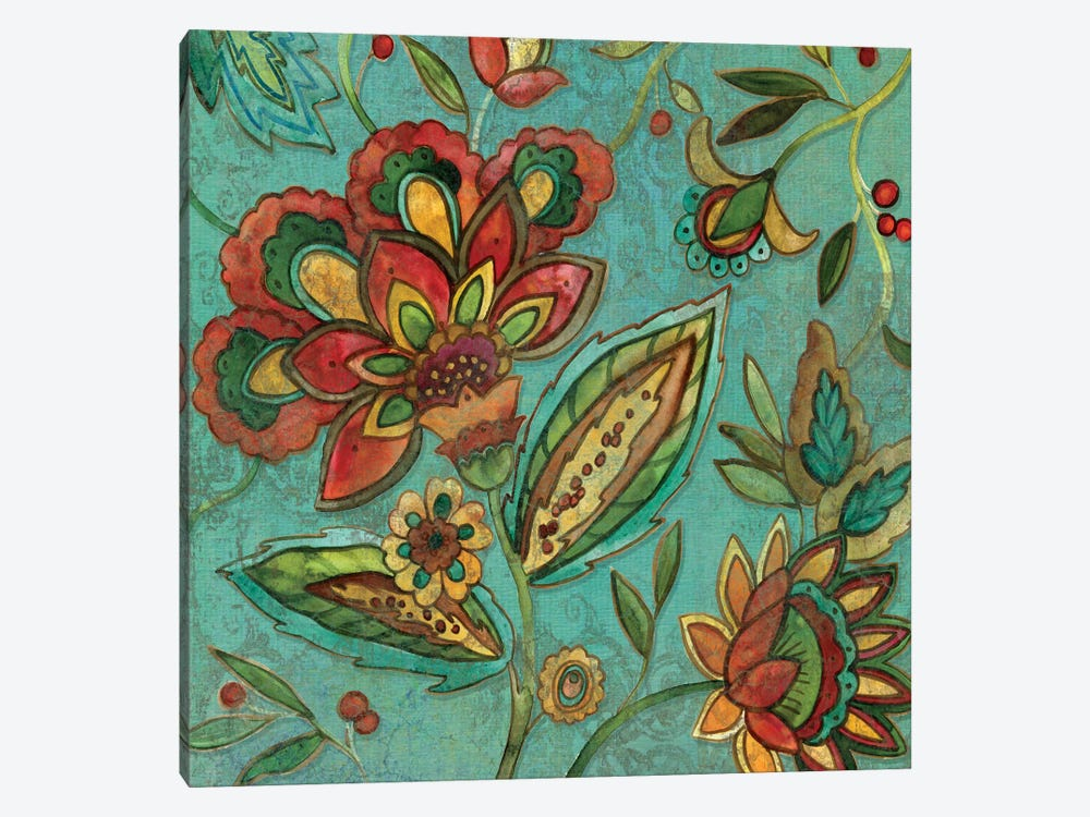 Teal Jacobean Spice II by Carol Robinson 1-piece Canvas Wall Art