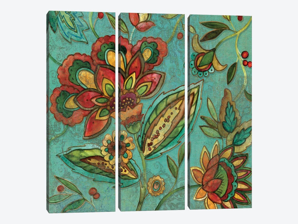 Teal Jacobean Spice II 3-piece Canvas Wall Art