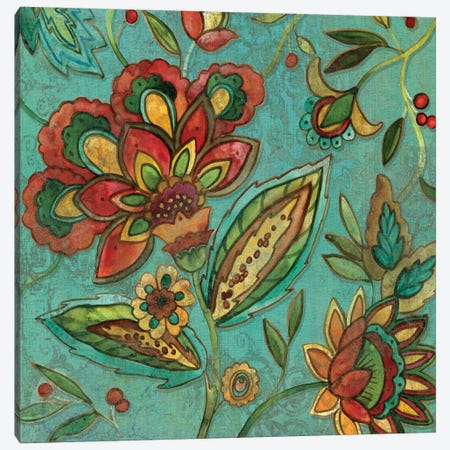 Teal Jacobean Spice II Canvas Print #CRO52} by Carol Robinson Canvas Art Print