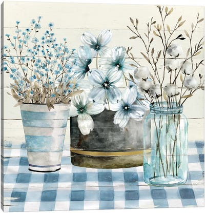 Blue Farmhouse Canvas Art Print