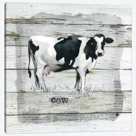 Farmhouse Collage Cow Canvas Print #CRO591} by Carol Robinson Canvas Art Print