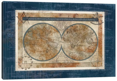 Blueprint Of The World Canvas Art Print