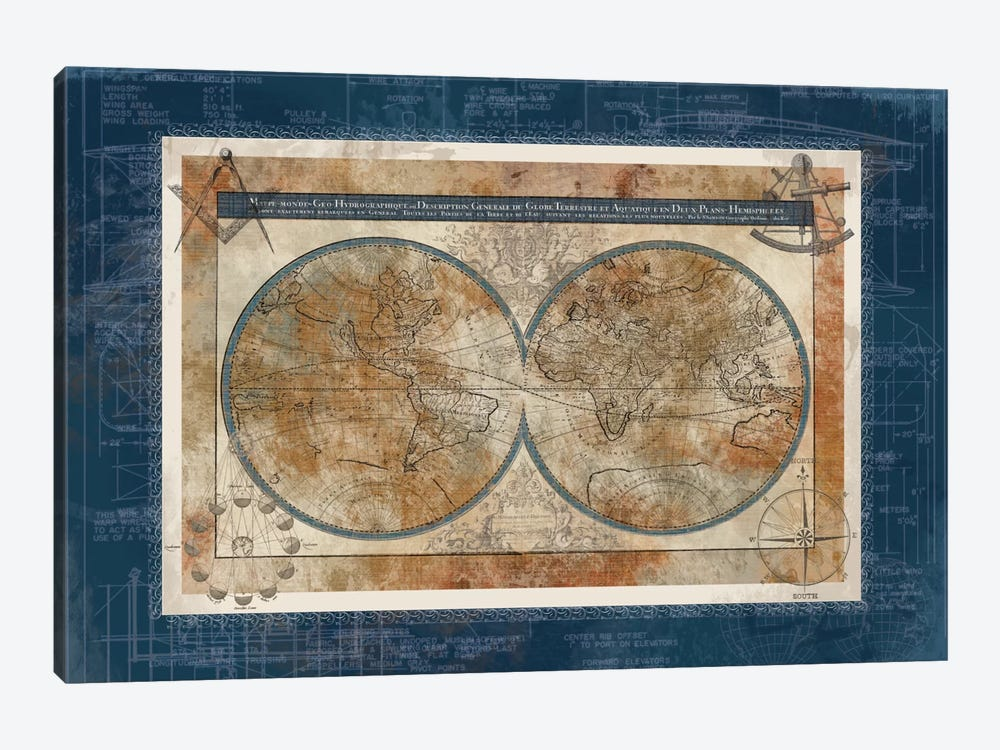 Blueprint Of The World by Carol Robinson 1-piece Canvas Art Print