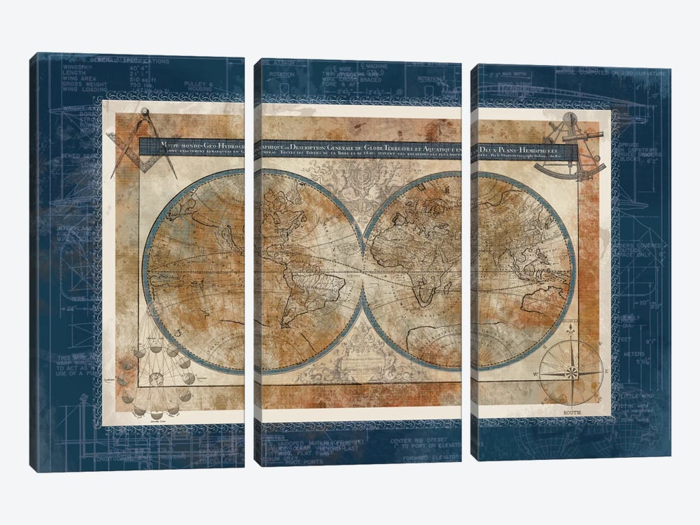 Blueprint Of The World by Carol Robinson 3-piece Art Print