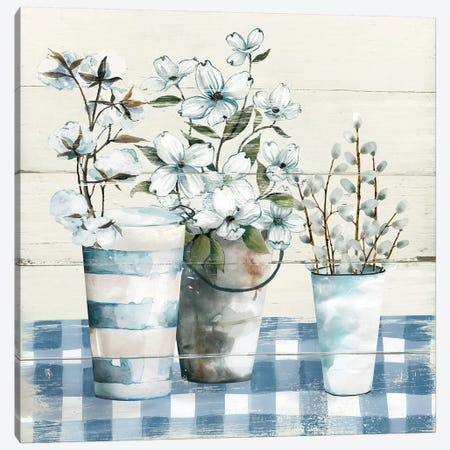 Gingham Blues Canvas Print #CRO606} by Carol Robinson Canvas Artwork
