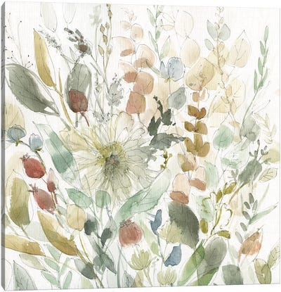 Linen Wildflower Garden Canvas Art Print