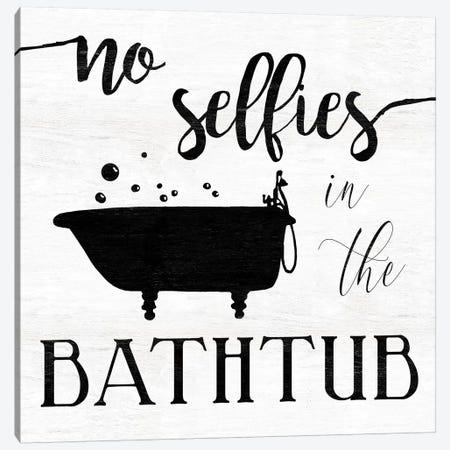 No Selfies Bath Canvas Print #CRO651} by Carol Robinson Canvas Artwork