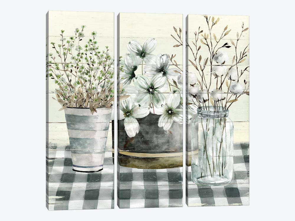 Spring Gingham II by Carol Robinson 3-piece Canvas Artwork