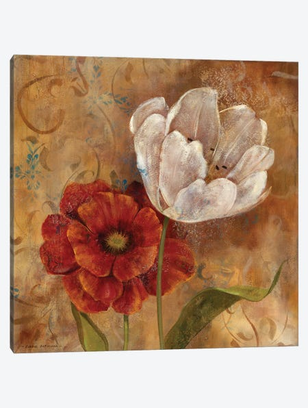 Flower Duet I Canvas Print #CRO760} by Carol Robinson Canvas Artwork