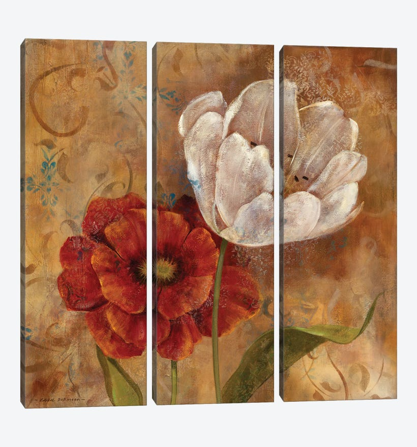 Flower Duet I by Carol Robinson 3-piece Canvas Wall Art