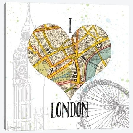 I Love London Map Canvas Print #CRO78} by Carol Robinson Canvas Print