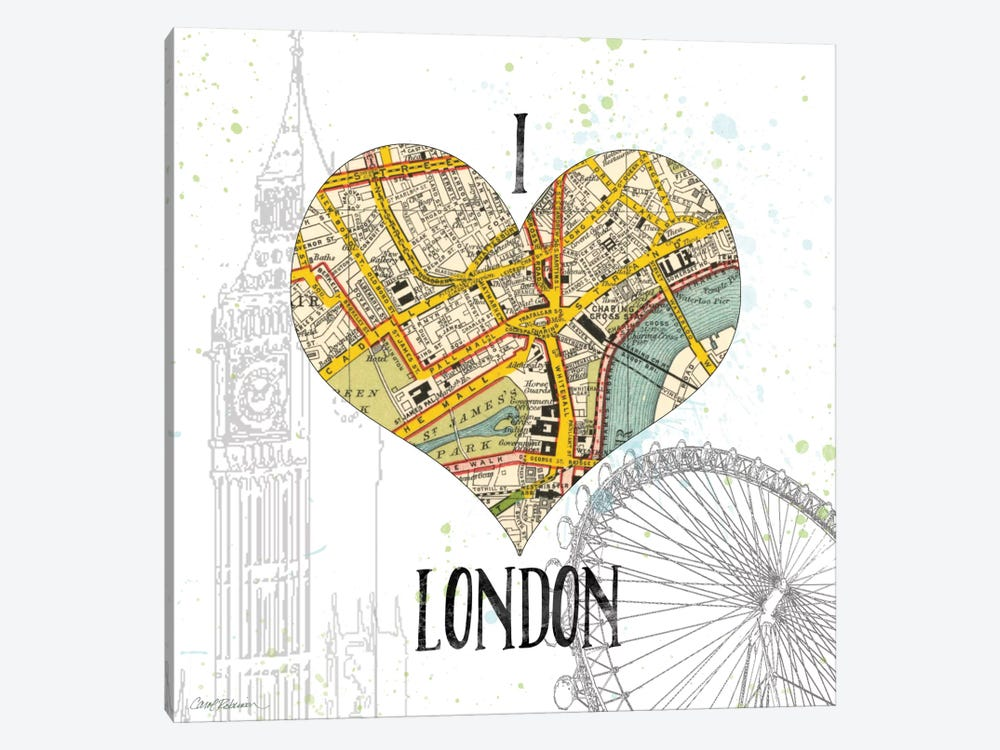 I Love London Map 1-piece Canvas Wall Art