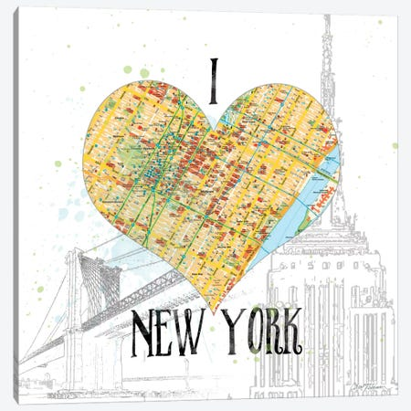 I Love New York Map Canvas Print #CRO79} by Carol Robinson Canvas Print