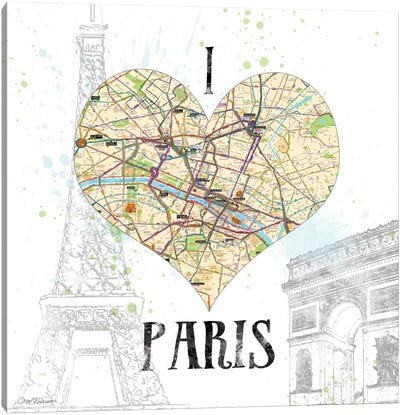 I Love Paris Map Canvas Print #CRO80