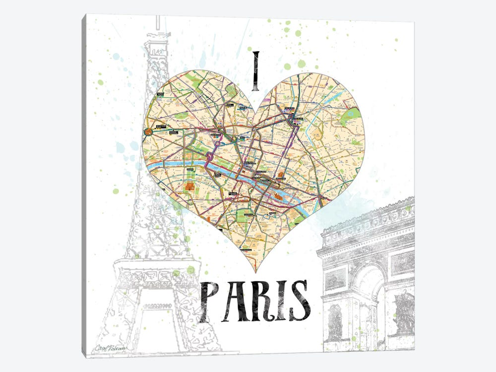 I Love Paris Map by Carol Robinson 1-piece Art Print