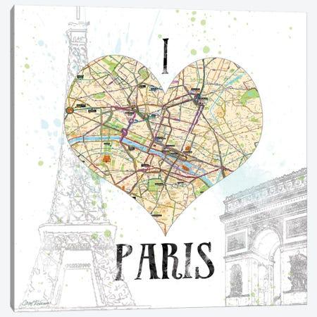 I Love Paris Map Canvas Print #CRO80} by Carol Robinson Canvas Art