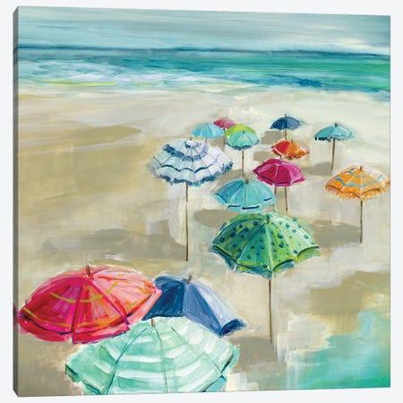 Umbrella Beach I Canvas Print #CRO852} by Carol Robinson Canvas Wall Art